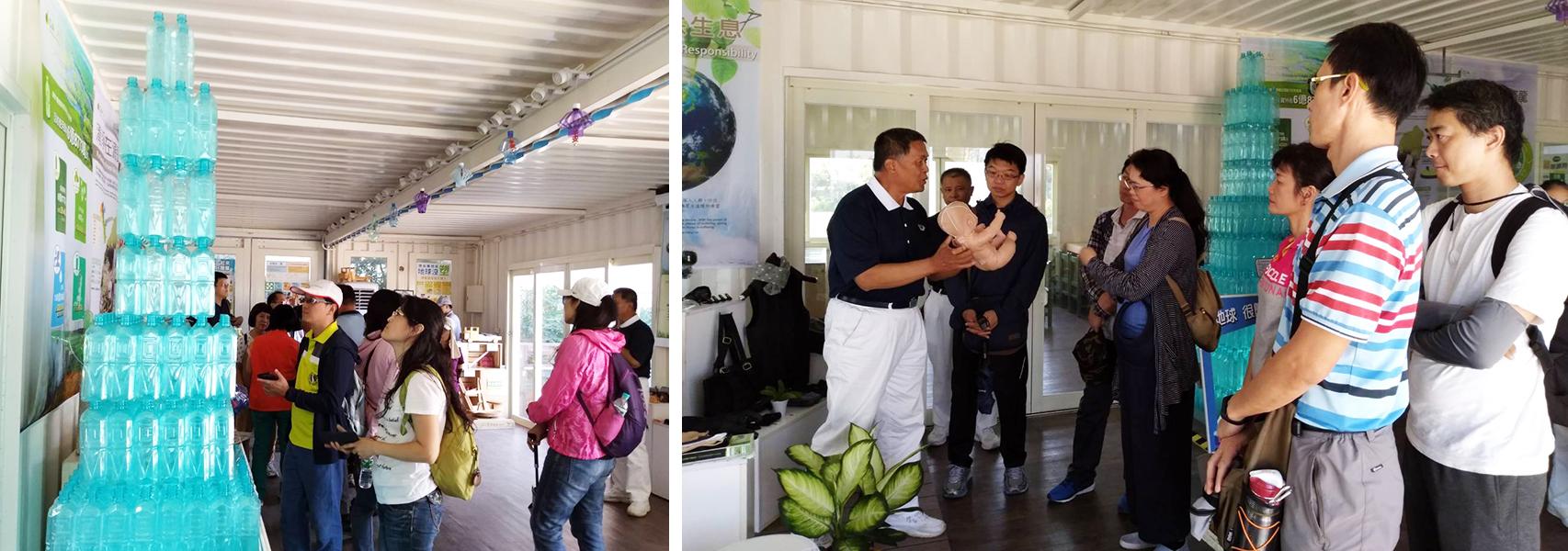 10月8日,來自桃園市108年度教師環境教育知能增能研習的教師一行近70人前來參訪慈濟基金會於農博中規劃的環保再生館,並進行環保DIY-祈福天燈的實做。(拍攝:夏萍蓮)