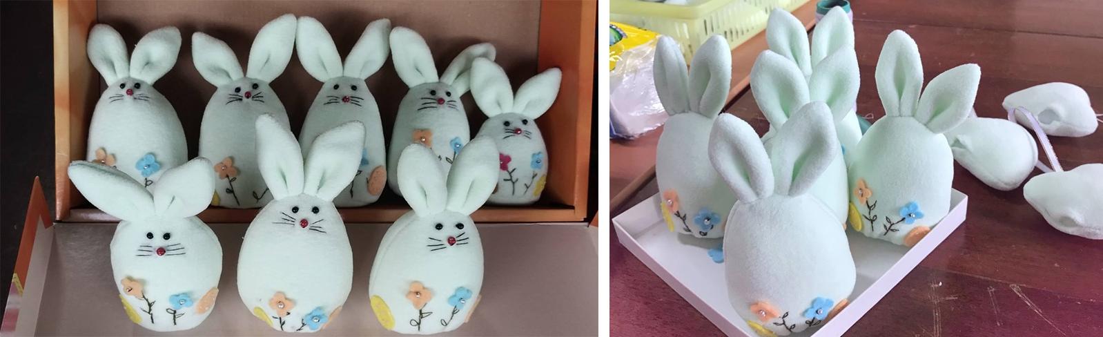 製作一隻「善兔」,必須經過等料、做板、裁剪、入棉、車邊、縫紉、手工逢補、繡花、黏物、、、等十幾道程序。