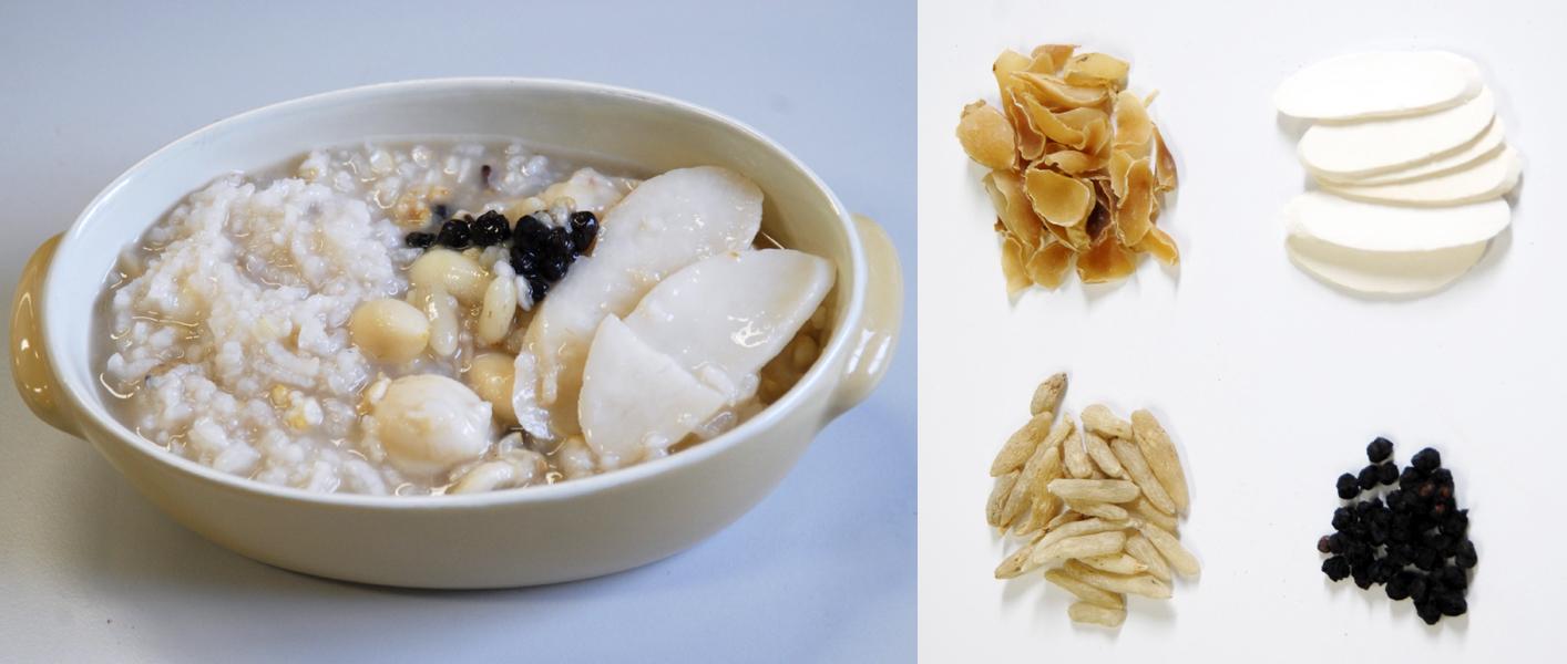 順暢糙米粥:百合、山藥、麥門冬、五味子(左上至右下)