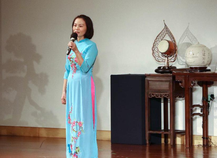 十七年前從越南嫁到臺灣的林育亘,「在慈濟新住民成長班,有了大家的陪伴,我不孤單」。攝影/沈素寶