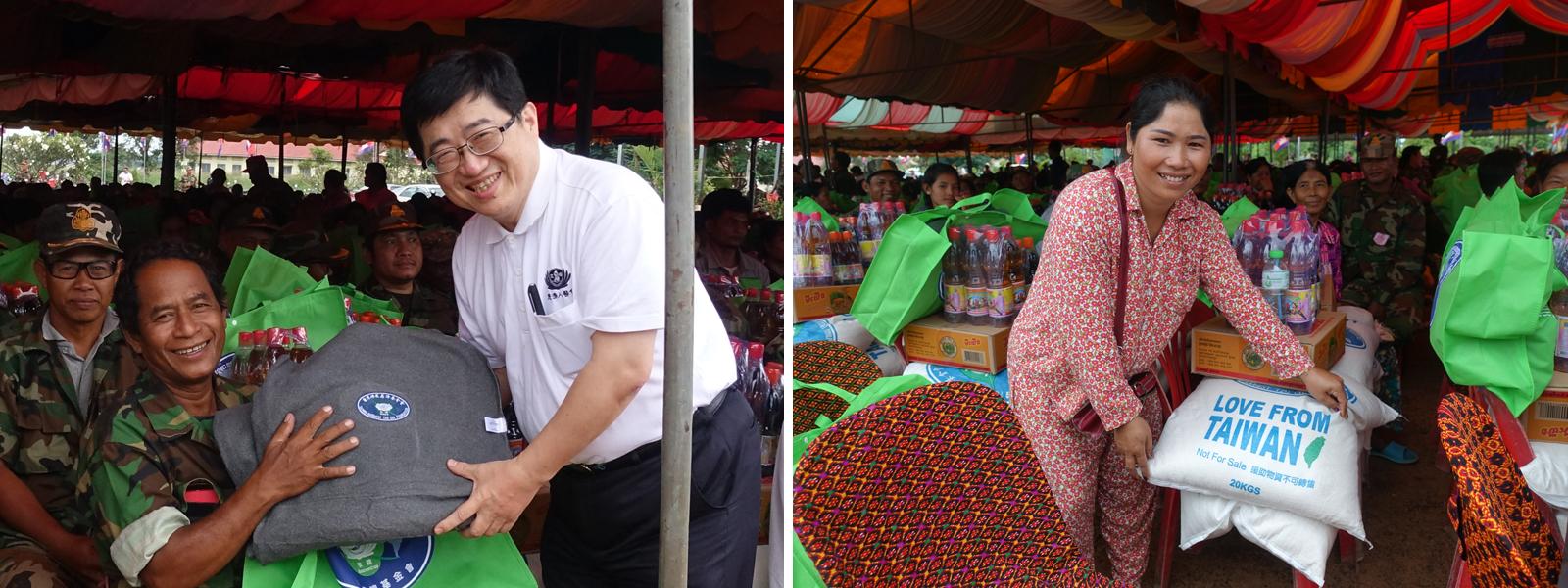 11月1日慈濟與TYDA一起為當地退伍殘障軍兵舉辦約6百戶大型發放,每戶40公斤台灣農委會提供的大米與慈濟毛毯。婦女開心的跟慈濟志工表示,有了這些米就可以讓一家三口吃上好一陣子了。(攝影:陳誼謙)