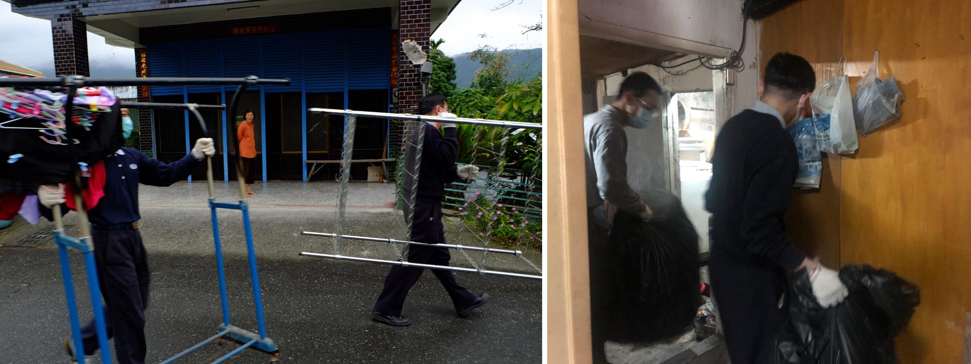 2月8日十八位志工前往壽豐協助清理韓先生老家,清空後的屋子將進行修繕,大家進進出出搬運東西,有人負責清理出來 有人則搬送到門口,韓太太則清點要留與不留的東西。