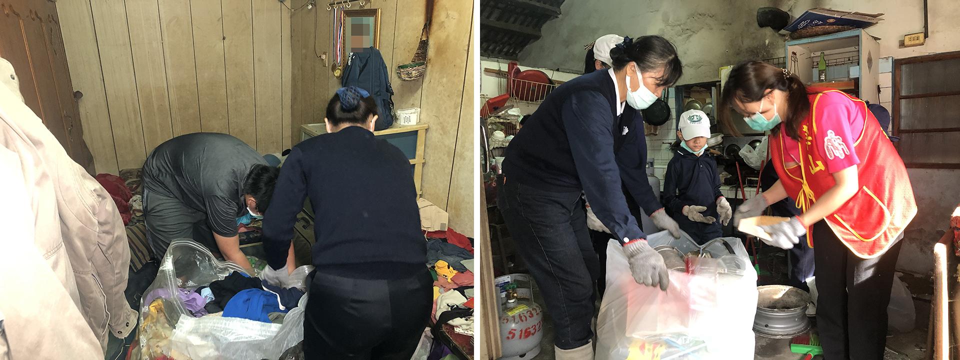 志工與張同學一同整理房間內的多年衣服及雜物。第一次跟慈濟基金會連結清掃,這是互相『力上加力』,攜手同共完成一個使命,給張先生一個乾淨的家。