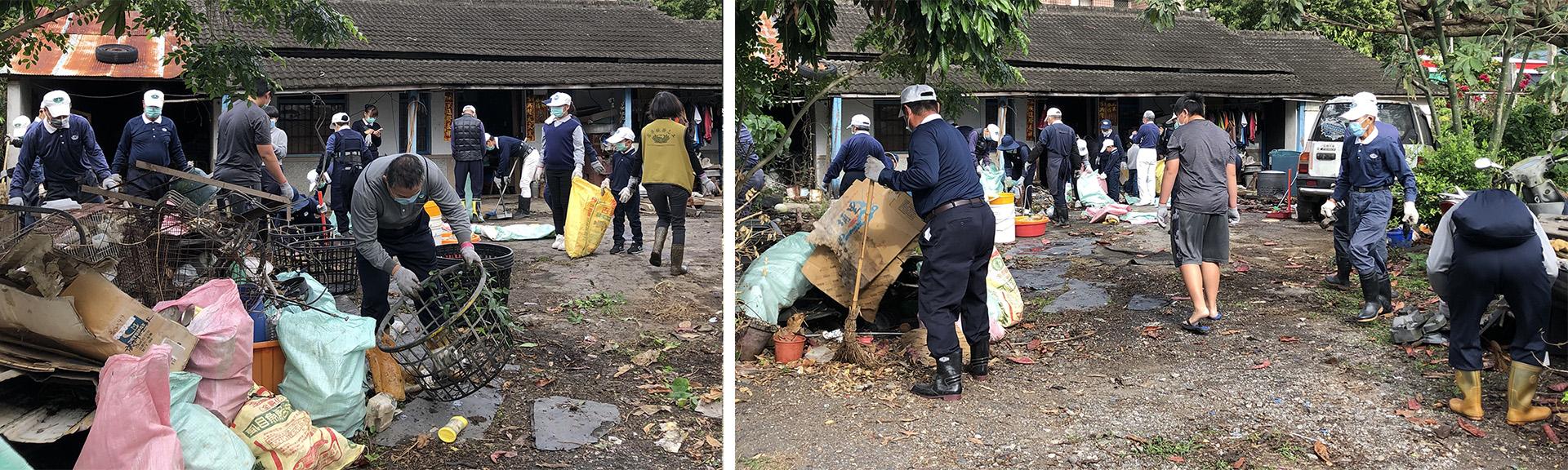 台東區的慈濟志工們,努力地清掃及搬運家中已久的雜物及堆積很多垃圾。