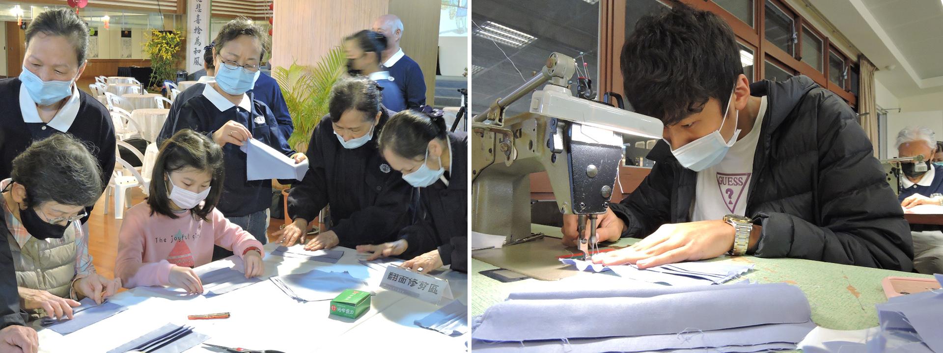 家住彰化、目前就讀虎尾科技大學二年級的廖浚頡(右圖),從沒有碰過裁縫的廖浚頡,主動承擔「車縫區」。