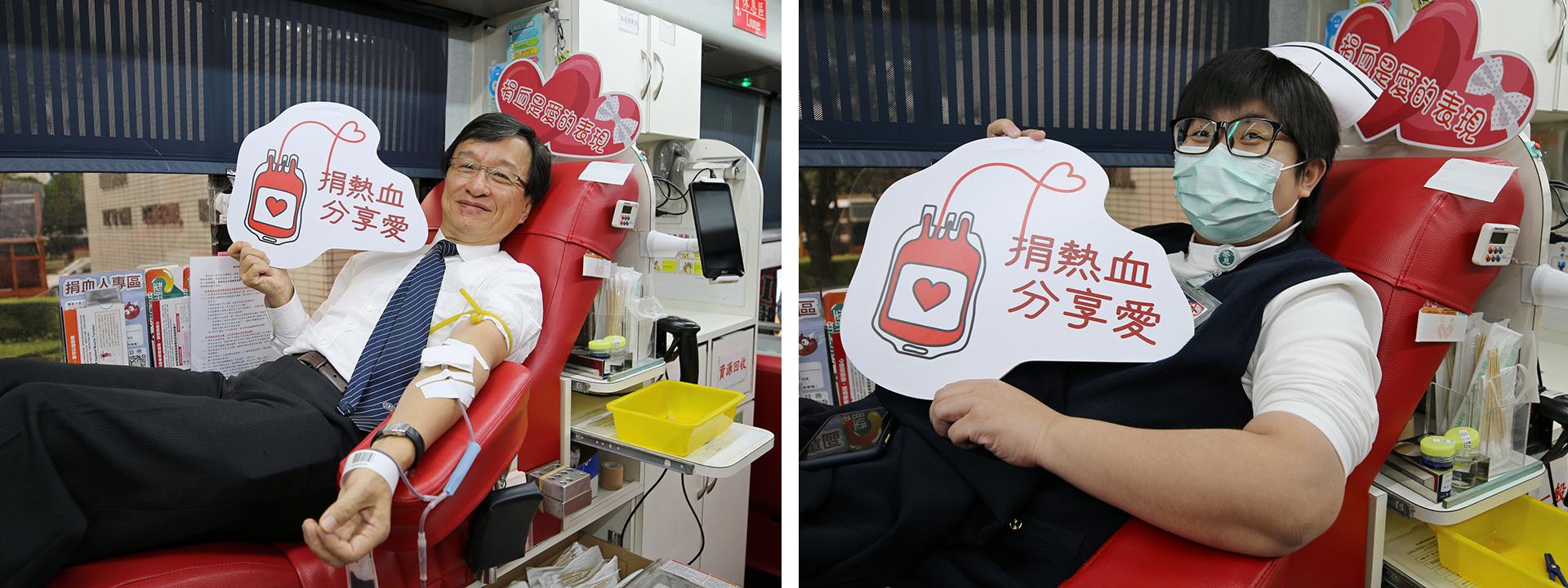 花蓮慈院醫務秘書李毅(左圖)表示,在開刀房的時候,看到這一袋血可以讓一個人獲救,是件很有價值又很快樂的事情。花蓮慈院病房護理長周英芳(右圖)說,在醫院工作,深刻了解血液不足對病人的影響很大,所以一聽到血荒就邀約實習的學弟妹一起加入捐血的行列。
