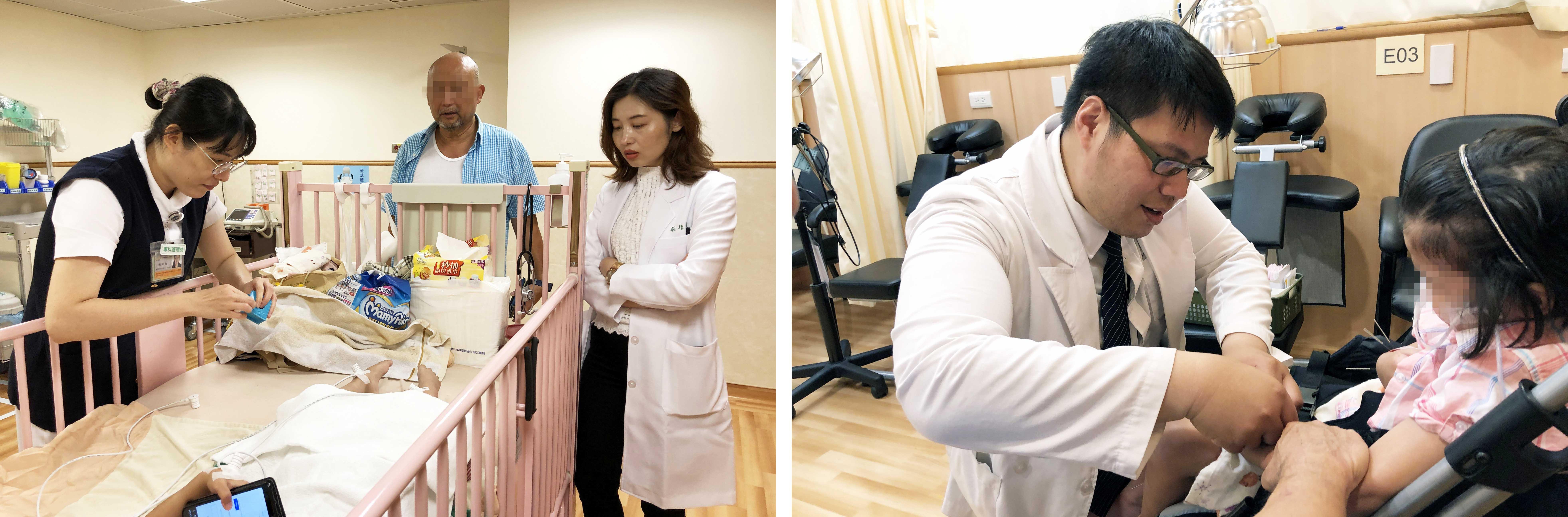 (圖左)中醫部莊佳穎醫師(右一)查看女童治療情況。(圖右)中醫部歐宗益替女童針灸治療。