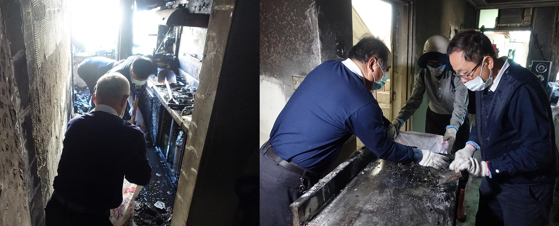 於起火點在廚房,許多家具、家電均已燒毀,慈濟志工協助清理。志工用心刮除家具上的髒汙,避免搬運過程髒污掉落、傷到眼睛。