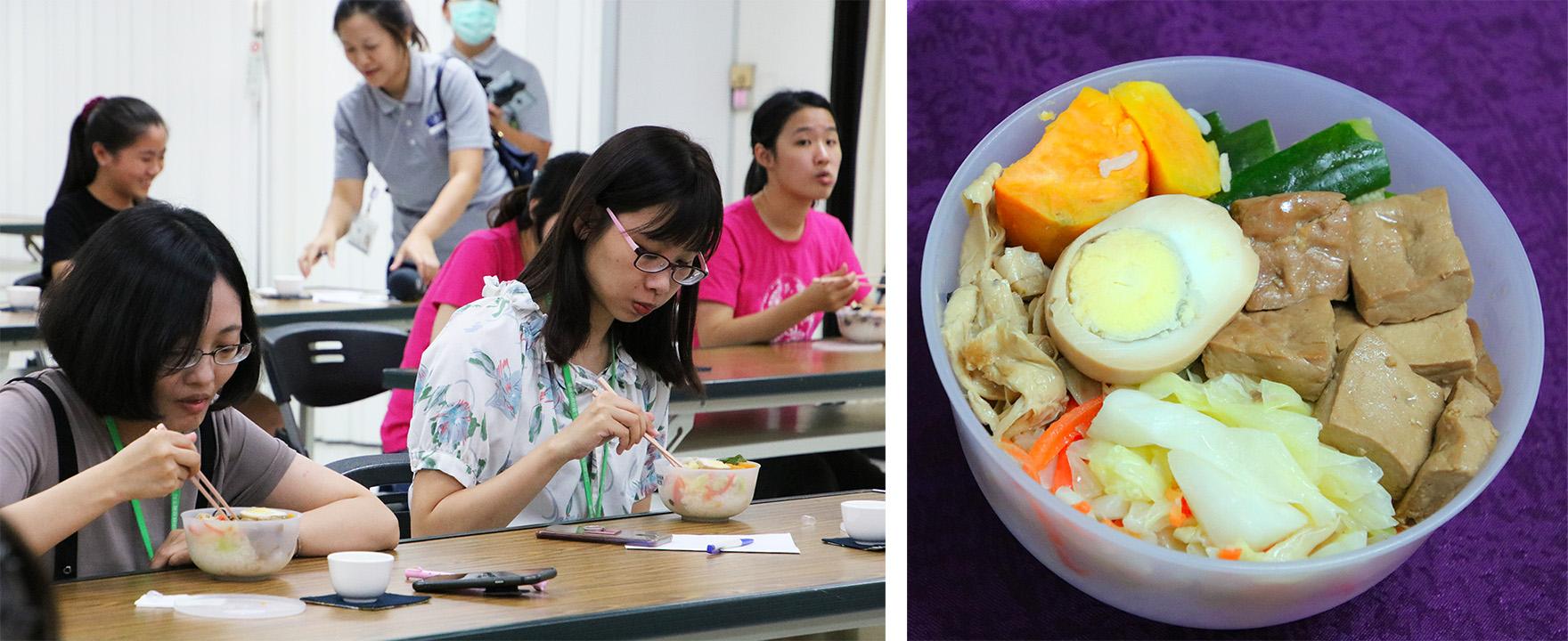 每一份餐盒都是台南慈濟志工依營養師開的菜單,烹煮健康美味的蔬食餐。 這一餐不僅色香味俱全,更減少碳足跡、營養滿分。
