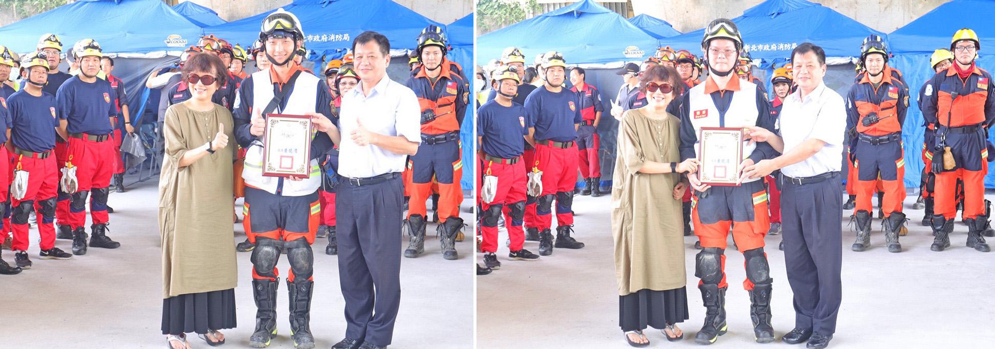 台北慈濟醫院急診部急診內科陳玉龍主任、黃懷寬住院醫師參與演練。