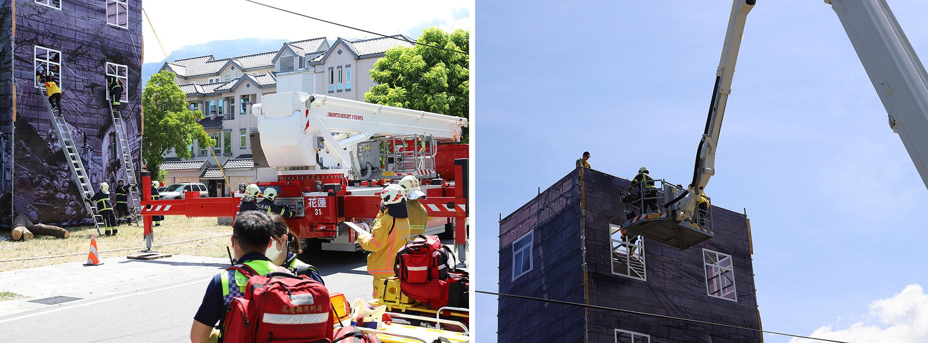 109年災害防救演習「模擬7級地震導致國興里一處5層樓建物1、2樓坍塌,建築物重傾斜,多名住戶受困於各樓層,隨時有倒塌的危險,採無劇本演練。