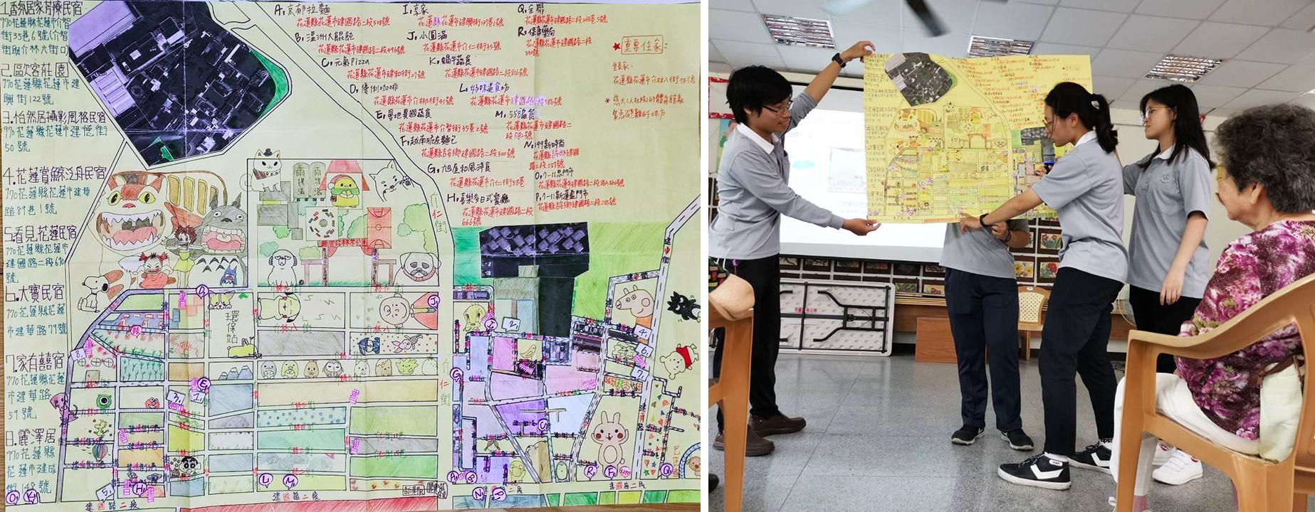 社區地圖組則負責將碧雲莊的特色、避難位置、社區還書箱的位置標記出來,讓社區內的居民可以透過地圖了解社區內大大小小事務。