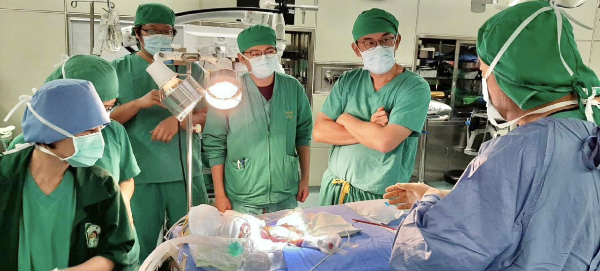 一個病人後面站那麼多醫生,嘗試要拯救這個孩子。這張照片還沒照到,後面還站一大堆人,我那時數一數,大概有十個醫生在現場,加上護理人員約 20 個,大家就這樣同心協力。
