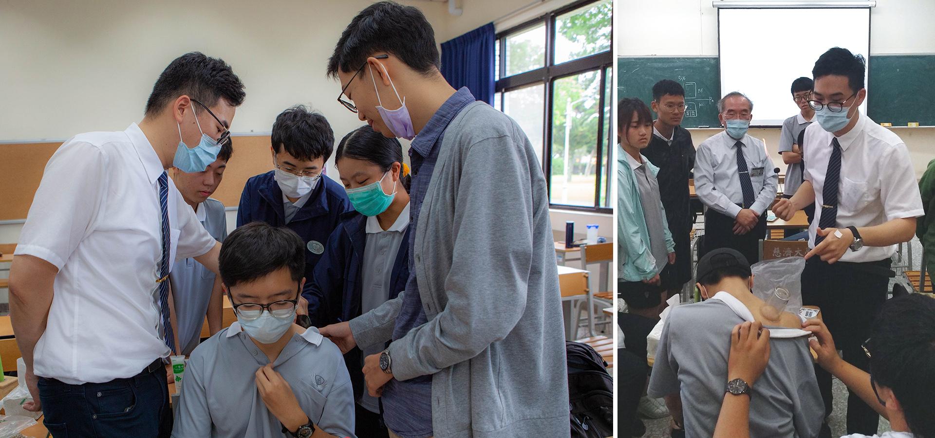 龔醫師指導學生「刮痧」操作及注意事項,並示範「拔罐」的技術。