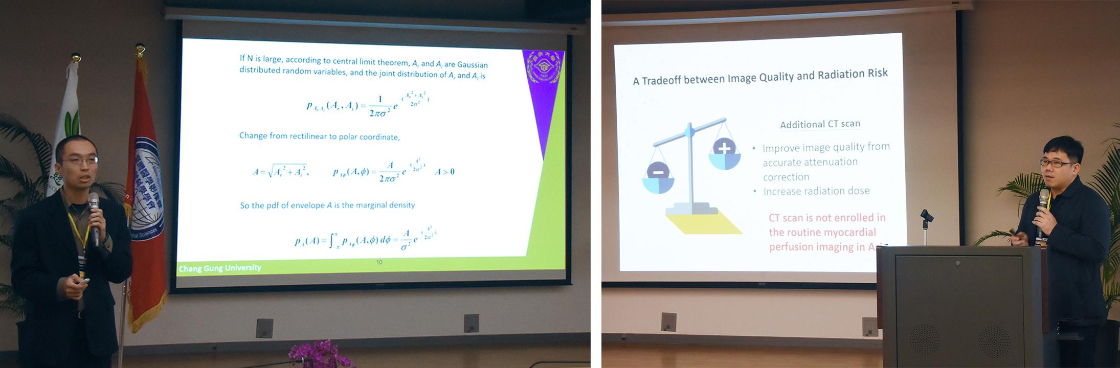 左圖崔博翔教授主講「由回散射進行超音波組織特性分析」。右圖林信宏博士主講「基於學習神經網路的新式單光子斷層掃描之衰減修正方法」。