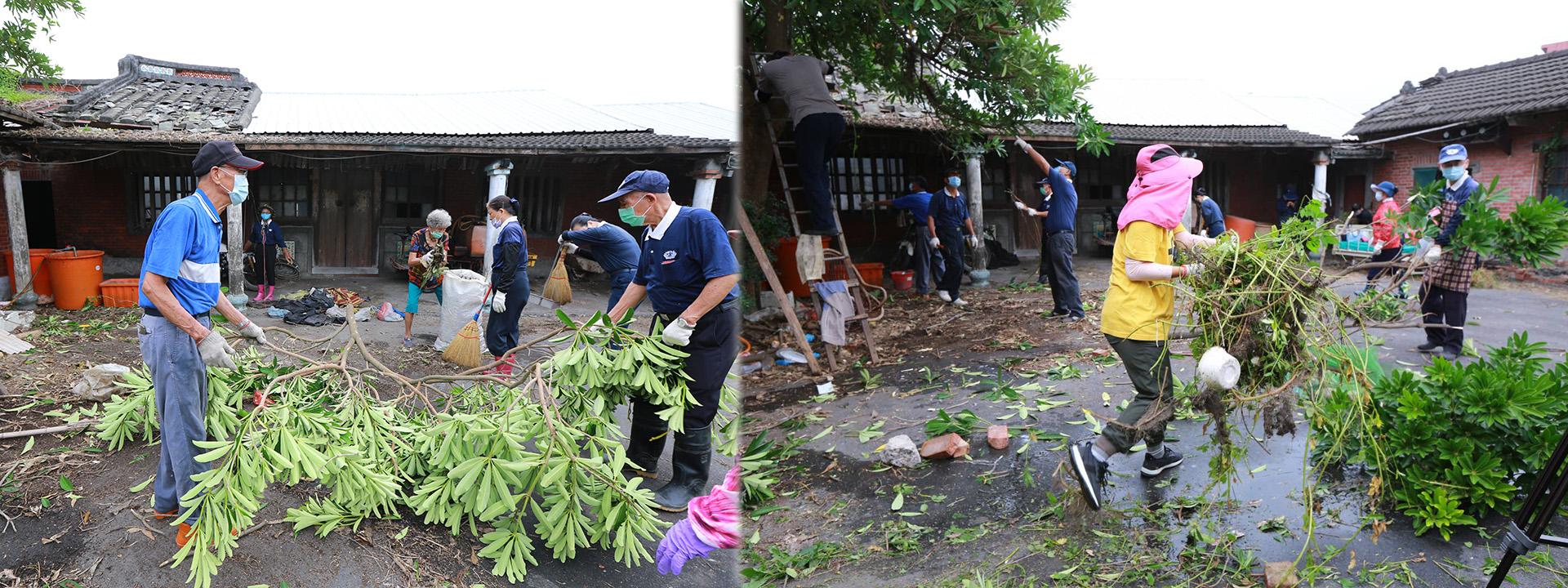 彰化慈濟志工動員人力協助案家清掃,從裡到外清理。
