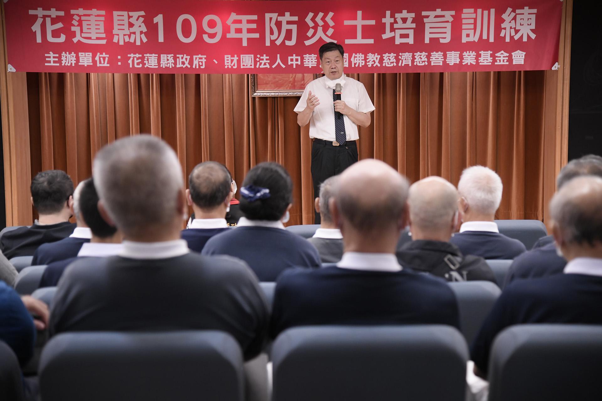 慈濟基金會慈善志業發展處主任呂芳川致詞。