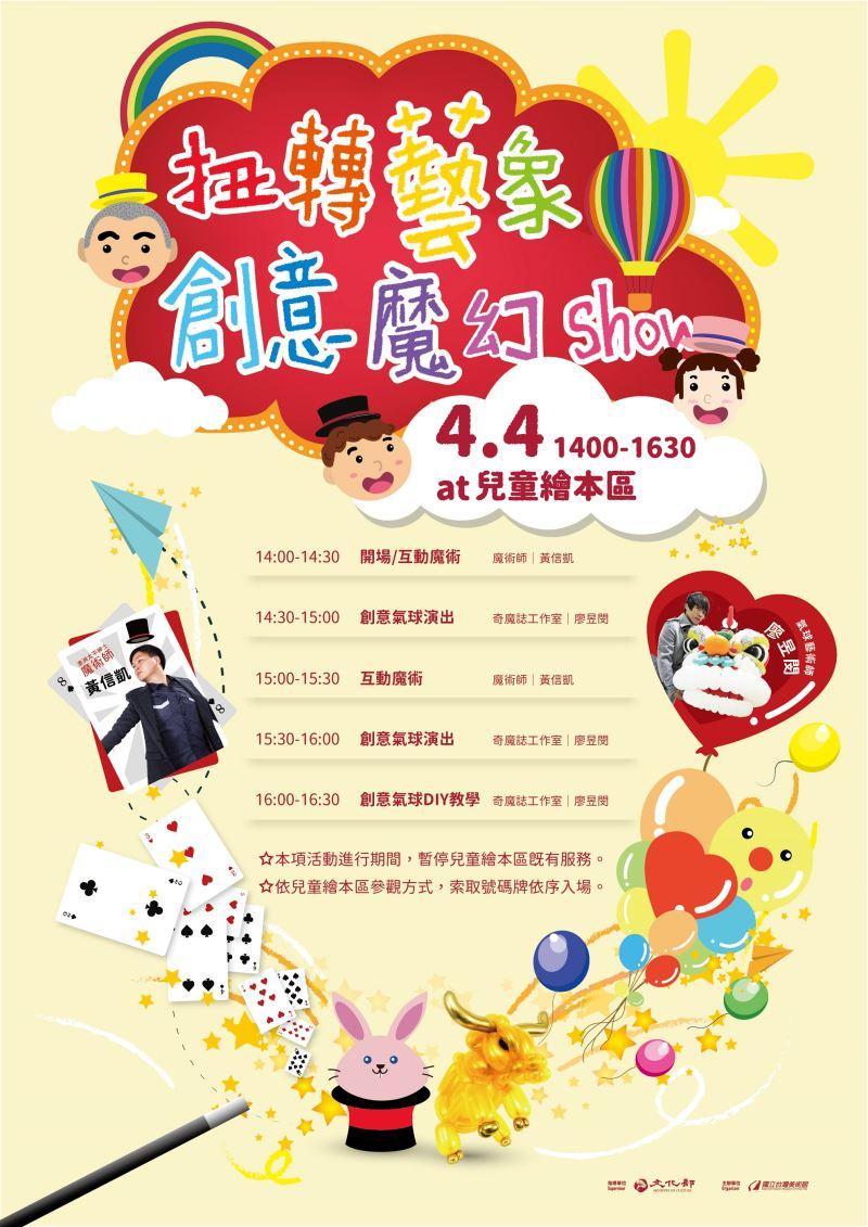 國美館兒童節將推出「扭轉藝象。創意魔幻秀」活動,包含互動魔術及創意氣球表演,另有水牛造型的創意氣球DIY活動。