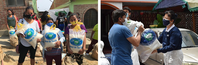中南美洲慈濟志工發放台灣大米,民眾歡喜領取大米及生活物資,圖為厄瓜多。/泰國慈濟志工關懷當地弱勢家庭。