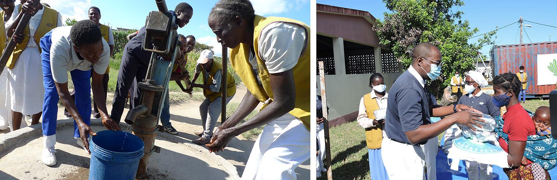 辛巴威慈濟志工協助修水井,讓當地居民有乾淨水用。/莫三比克在疫情下仍堅持發放物資給當地苦難人,避免斷炊。