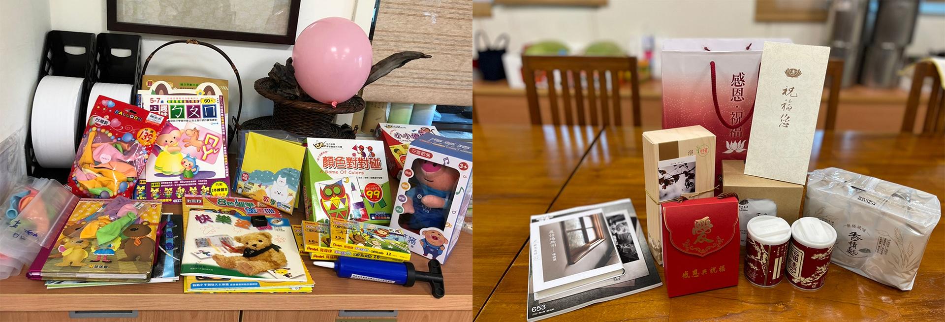 (左圖)小朋友入院後,社會服務室為他們四處張羅童書與玩具,讓他們安心在病房不吵鬧。(右圖)「安心防疫包」內有證嚴法師信函。