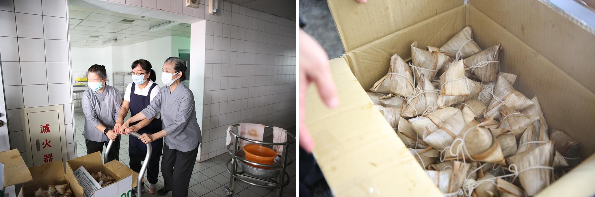 花蓮慈院顏惠美師姊一早就準備了熱騰騰剛出爐的粽子,要送到榮民之家。