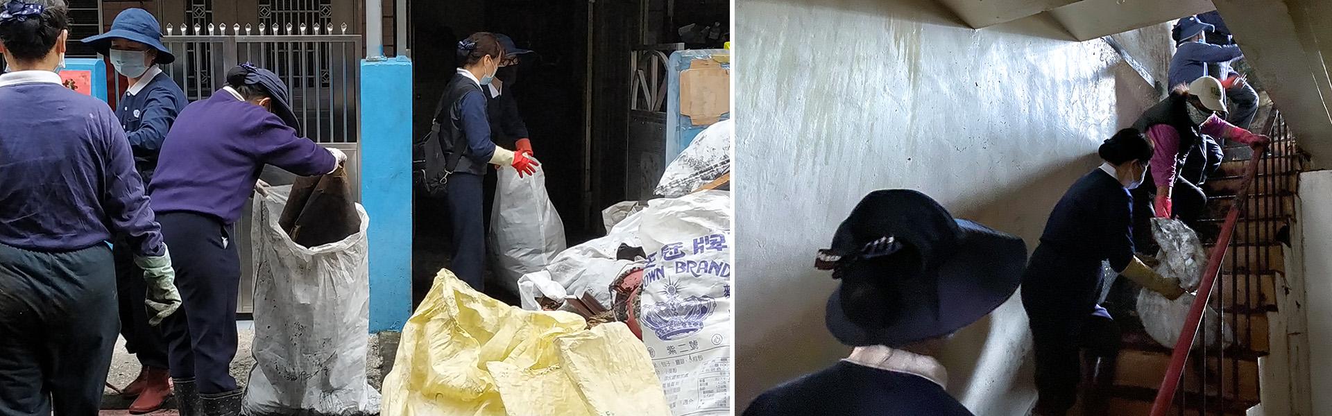 志工用接龍方式將廢棄物從樓上一袋袋地搬到樓下,將屋內清理乾淨。