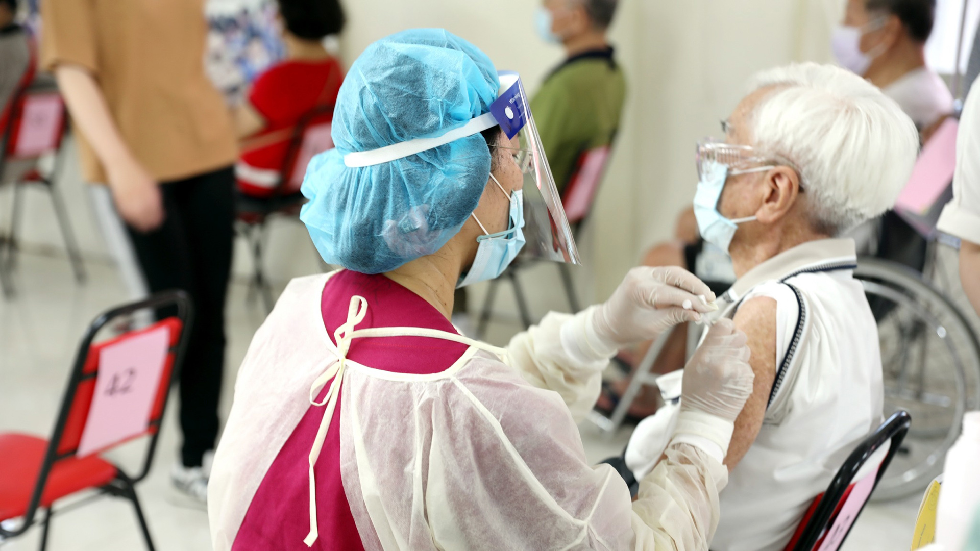 沙鹿聯絡處預計將有2千多位民眾前來施打第二劑疫苗